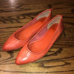 Frye Regina Orange Pointy Toe Ballet Flats